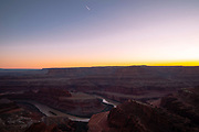 A sunset view from Deadhorse Point State Park  and overlooking Canyonlands National Park, near Moab, Utah, USA.