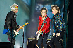 Mick Jagger, Keith Richards and Ronnie Wood of The Rolling Stones perform on stage at Ricoh Arena on June 02, 2018 in Coventry, England. Picture date: Saturday 02 June, 2018. Photo credit: Katja Ogrin/ EMPICS Entertainment.
