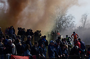 Smoke bombs in the Belgian colours