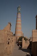 minaret of Islam HOXHA complex and view on the city  KHIVA  Ouzbekistan  .///.minaret de la mosquee HODJA dans la vieille ville  KHIVA  Ouzbekistan .///.OUZB56292