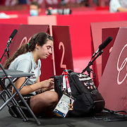 TOKYO, JAPAN - JULY 24: Twelve year old Hend Zaza of Syria, the youngest competitor in the Olympic Games in tears after her loss against Jia Liu of Austria in the Women's Singles  Preliminary Round in the Tokyo Metropolitan Gymnasium at the Tokyo 2020 Summer Olympic Games  on July 24, 2021 in Tokyo, Japan. (Photo by Tim Clayton/Corbis via Getty Images)