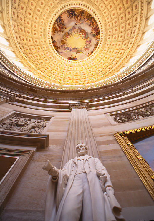 Low angle view of the Abraham Lincoln Statue in the capital rotunda, Washington, D.C.