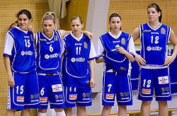 Players of Celje Tjasa Kopusar, Ines Kerin, Amadeja Cverlin, Rebeka Abramovic and Lea Jagodic at finals match of Slovenian 1st Women league between KK Hit Kranjska Gora and ZKK Merkur Celje, on May 14, 2009, in Arena Vitranc, Kranjska Gora, Slovenia. Merkur Celje won the third time and became Slovenian National Champion. (Photo by Vid Ponikvar / Sportida)