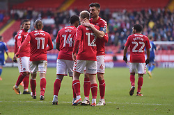 Charlton Athletic's Ben Reeves (centre) is congratulated on his second goal by captain Johnnie Jackson