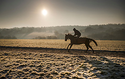 © Licensed to London News Pictures. 12/12/2017. Epsom, UK. A racehorse is exercised on the gallops on Epsom Downs after a night of freezing sub zero temperatures. Photo credit: Peter Macdiarmid/LNP