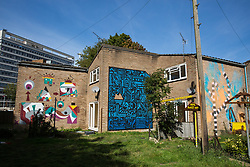 London, UK. 23 September, 2015. Properties refurbished by housing activists on the Sweets Way housing estate.  A group of housing activists calling for better social housing provision in London occupied properties on the 142-home estate in Whetstone, in some cases refurbishing properties intentionally destroyed by the legal owners following eviction of the original residents, in order to try to prevent the eviction of the last resident on the estate and the planned demolition and redevelopment of the entire estate by Barnet Council and Annington Property Ltd.