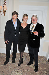 Left to right, LEO JOHNSON, KARENA ALBERS and STANLEY JOHNSON at the launch of Whole World Water at The Savoy Hotel, London on 22nd March 2013.