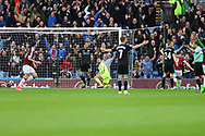 Sam Vokes of Burnley (l) checks he's not off side as he scores his teams 1st goal.  Premier League match, Burnley v West Bromwich Albion at Turf Moor in Burnley , Lancs on Saturday 6th May 2017.<br /> pic by Chris Stading, Andrew Orchard sports photography.