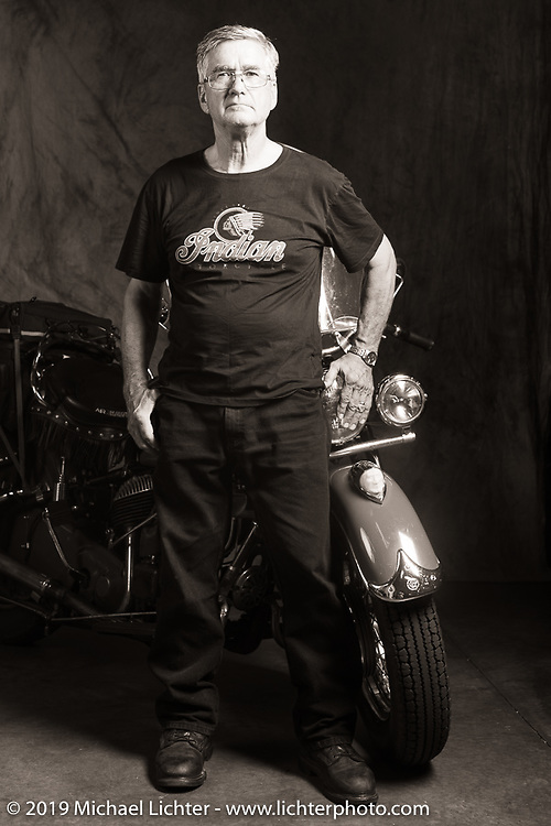Kerry Patchett with his 1947 Indian Chief during theCross Country Chase motorcycle endurance run from Sault Sainte Marie, MI to Key West, FL (for vintage bikes from 1930-1948). Photographed at the end of the Stage 6 ride from Chattanooga, TN to Macon, GA USA. Wednesday, September 11, 2019. Photography ©2019 Michael Lichter.