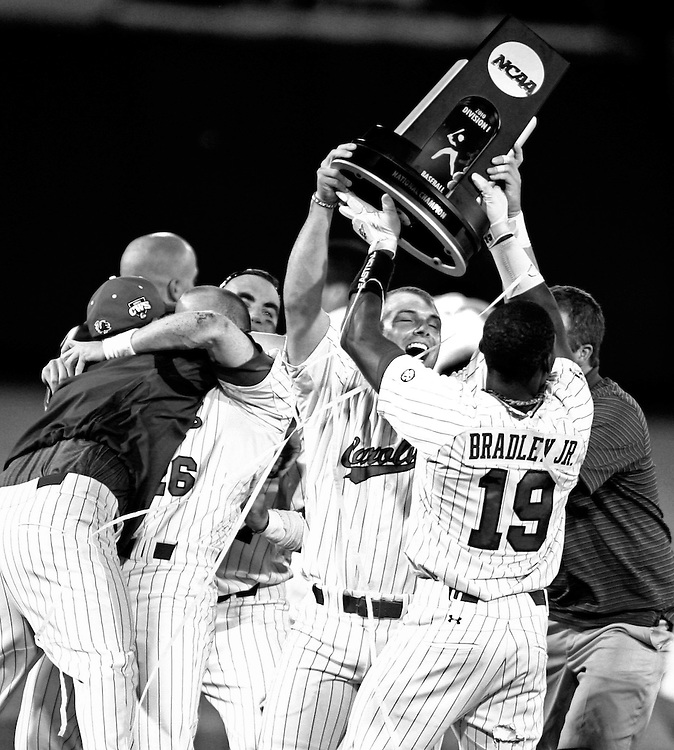 USC's Jackie Bradley Jr. celebrates with teammates after their win over UCLA to claim the 2010 College World Series title at Rosenblatt Stadium in Omaha, Neb, Tuesday, June 29, 2010.