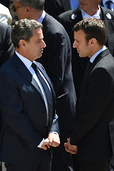 L-R : Nicolas Sarkozy and Emmanuel Macron attend a national tribute to former French Prime Minister Michel Rocard, in the courtyard of Hotel des Invalides, in Paris, France on July 7, 2016. Photo by Ammar Abd Rabbo/ABACAPRESS.COM