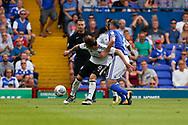 Fulham midfielder Stefan Johansen (8) Ipswich Town midfielder Cole Skuse (8) battles for possession during the EFL Sky Bet Championship match between Ipswich Town and Fulham at Portman Road, Ipswich, England on 26 August 2017. Photo by Phil Chaplin.