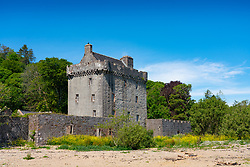 Exterior view of Saddell Castle on Saddell Bay in Kintyre peninsula, Argyll and Bute, Scotland, Uk