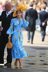 A guest arriving at York Minster for the wedding of singer Ellie Goulding to Caspar Jopling.