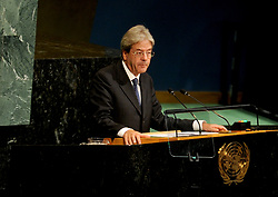 Italian PM Paolo Gentiloni addresses the 72nd session of the General Assembly at the United Nations in New York City, NY, USA, on September 20, 2017. Photo by Dennis Van Tine/ABACAPRESS.COM