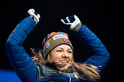 February 22, 2019 - Seefeld In Tirol, AUSTRIA - 190222 Gold medalist Maiken Caspersen Falla of Norway  celebrates at the medal ceremony for women´s cross-country skiing sprint during the FIS Nordic World Ski Championships on February 22, 2019 in Seefeld in Tirol..Photo: Joel Marklund / BILDBYRÃ…N / kod JM / 87883 (Credit Image: © Joel Marklund/Bildbyran via ZUMA Press)