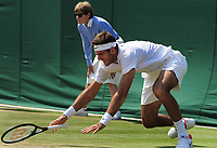 Tennis - 2017 Wimbledon Championships - Week One, Thursday [Day Four]<br /> <br /> Men's Singles, Second Round match<br /> Juan Martin Del Potro  (ARG) v Ernests Gulbis (LAT) <br /> <br /> Juan Martin Del Potro slips on the grass on Court 3<br /> <br /> COLORSPORT/ANDREW COWIE