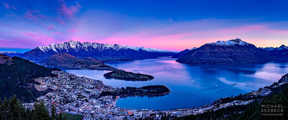 A beautiful sunset over Queenstown & Lake Wakatipu in winter.<br /> <br /> Limited Edition Print; Edition of 125<br /> <br /> 'Image Size' below refers to the size of the thumbnail only. This is a high resolution large format print.