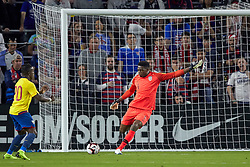 March 21, 2019 - Orlando, FL, U.S. - ORLANDO, FL - MARCH 21: United States goalkeeper Sean Johnson (1) kicks the ball in game action during an International friendly match between the United States and Ecuador on March 21, 2019 at Orlando City Stadium in Orlando, FL. (Photo by Robin Alam/Icon Sportswire) (Credit Image: © Robin Alam/Icon SMI via ZUMA Press)