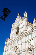 Street lamp and the Basilica di Santa Croce, Florence, Tuscany, Italy