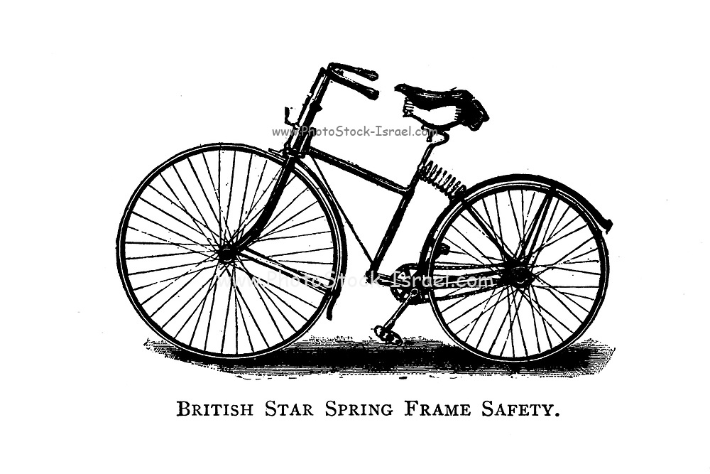 British Star Spring Frame Safety Bicycle From Wheels and Wheeling; An indispensable handbook for cyclists, with over two hundred illustrations by Porter, Luther Henry. Published in Boston in 1892