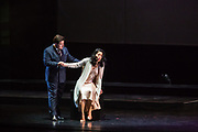 Karen Chila-Ling Ho as Violetta and Rafael Porto as Dr Grenvil in Verdi'a La Traviata in the Philharmonia Orchestra's production at the Rose Theater at Jazz at Lincoln Center.