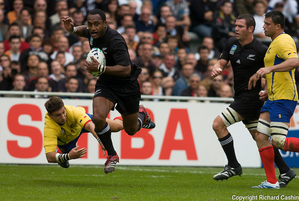All Blacks winger Joe Rokocoko during the 2007 Rugby World Cup pool game between New Zealnd and Romania at Stadium de Toulouse, Toulouse, France