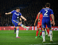 Chelsea's Gary Cahill scores the opening goal <br /> <br /> Photographer Ashley Western/CameraSport<br /> <br /> Football - UEFA Champions League Round of 16, Second Leg - Chelsea v Paris Saint-Germain - Wednesday 11th March 2015 - Stamford Bridge - London<br /> <br /> © CameraSport - 43 Linden Ave. Countesthorpe. Leicester. England. LE8 5PG - Tel: +44 (0) 116 277 4147 - admin@camerasport.com - www.camerasport.com