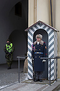 A guard wears the Ruritanian-style uniform outside Prague Castle, at Hradcany-Prazsky Hrad (Prague Castle), on 18th March, 2018, in Prague, the Czech Republic. Ater the Velvet Revolution in 1990 when the communist regime ended, Václav Havel, the first President of the Czech Republic wanted his guards's uniforms to be different from the khaki ones the communists wore and the basic ones found in neighboring countries. Havel chose Theodor Pistek, the Czech born artist and costume designer who won an Academy Award for Best Costume Design for the 1984 film Amadeus.