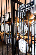 Single Malt Whisky, Ledaig, maturation process in oak casks in secure bonded warehouse storage at Tobermory Distillery on the Isle of Mull in the Highlands of Scotland