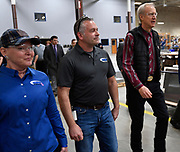 Illinois Governor Bruce Rauner visited Mac Medical in Millstadt, Illinois on Friday March 23 as part of his statewide tour to kick off his general election campaign. Rauner toured the facility, which manufactures medical equipment in its 100,000 square foot facility. Here, Rauner (far right) walks with Mac Medical owners Stacey Cooper and her husband Dennis Cooper as they tour the business.