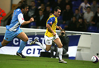 Photo: Paul Greenwood.<br />Chester City v Hereford United. Coca Cola League 2. 12/10/2007.<br />Hereford's Steve Guinan (R) races away from Chesters Paul Butler