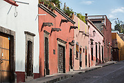Spanish colonial adobe buildings in the historic center of San Miguel de Allende, Mexico.