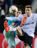 TRONDHEIM, NORWAY - NOVEMBER 02, 2017. UEFA Europa League, round 4: Rosenborg BK (Norway) 1-1 Zenit St Petersburg (Russia). Zenit St Petersburg's Emanuel  Mammana (L) and Rosenborg's Nicklas Bendtner (R).