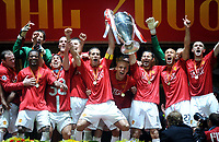 Manchester United mit Pokal<br /> Champions League Finale Manchester United FC - FC Chelsea  2007/2008<br /> <br /> Norway only