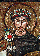 Mosaic of Justinian and Retinue at Apse Entry, San Vitale, Ravenna, c. 546