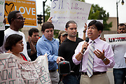 BIRMINGHAM, AL –SEPTEMBER 16, 2012: Commissioner Michael Yaki of the U.S. Commission on Civil Rights addresses a crowd of mostly undocumented immigrants in downtown Birmingham, Alabama. Commissioner Yaki was present for a briefing on the civil rights effects of state immigration law held by the Commission on August 17, 2012.