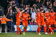 Goal 1-0 Luton Town forward James Collins sees the ball go in during the EFL Sky Bet League 1 match between Luton Town and Wycombe Wanderers at Kenilworth Road, Luton, England on 9 February 2019.