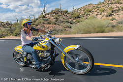 Alexis Browning on Diva Amy's Helping with Horsepower Ride on Wednesday of Arizona Bike Week 2014. USA. April 3, 2014.  Photography ©2014 Michael Lichter.