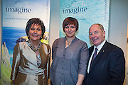 NO FEE PICTURES<br /> 23/1/16 Minister for Tourism Michael Ring and Maureen Ledwith, organiser of the Holiday World Show at the Imagine Ireland stand at the Holiday World Show at the RDS in Dublin. Picture: Arthur Carron