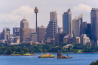 The skyline of Sydney seen from the Taronga Zoo, Sydney Harbor, Sydney, New South Wales, Australia