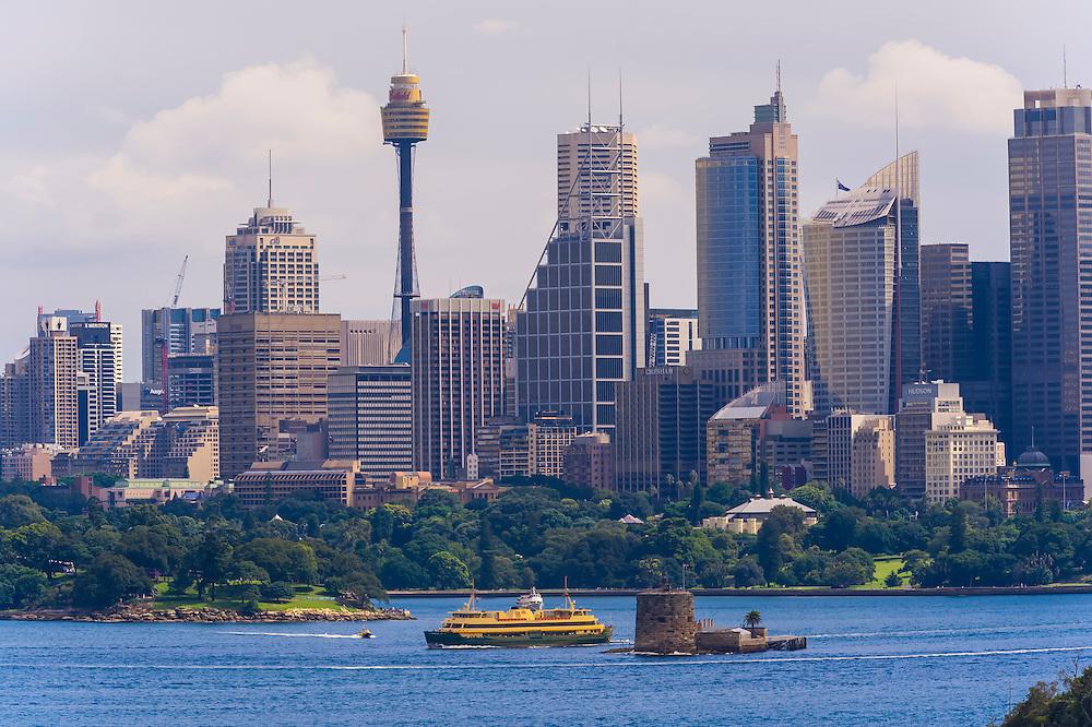The skyline of Sydney seen from the Taronga Zoo, Sydney Harbor, Sydney, New South Wales, Australia