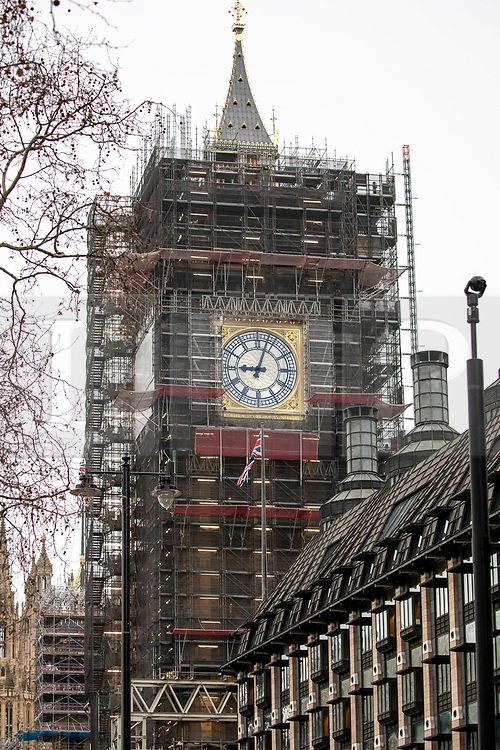 © Licensed to London News Pictures. 14/01/2020. London, UK. Big Ben will not bong for Brexit after MP's decide it is not worth the £500,000 for replacing the flooring. Several MPs had asked for the bell to ring on 31 January 2020 to mark the UK's departure from the EU. Photo credit: Alex Lentati/LNP