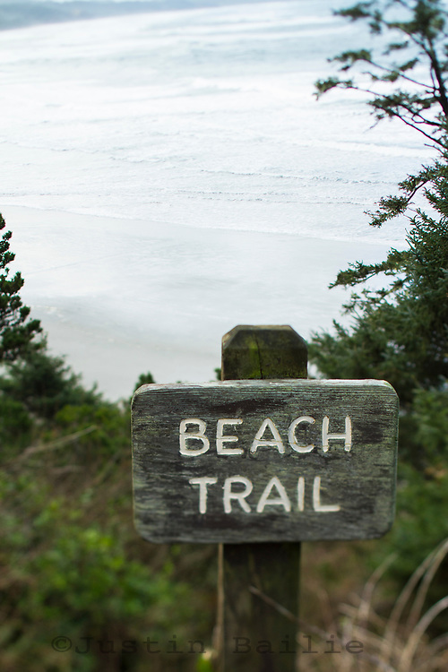 Beach trail sign along the Oregon Coast.