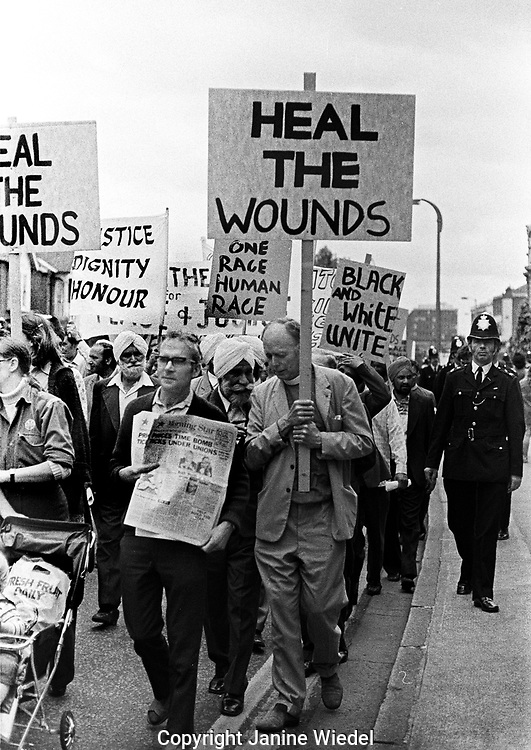 March and rally in Southall in 1976 following murder of an Asian a Sikh schoolboy, Gurdip Singh Chaggar. The BNP and other racist groups had been attacking the Asian community for several years.
