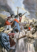 Second French Madagascar expedition 1894-1895 which completed French conquest of the island. Native royal princesses preaching Holy War. From 'Le Petit Journal', Paris, 9 December 1894. France, Colonialism