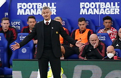 Manchester United manager Ole Gunnar Solskjaer during the Premier League match at the King Power Stadium, Leicester. Picture date: Saturday October 16, 2021.