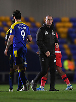 Football - 2020 / 2021 Sky Bet League One - AFC Wimbledon vs Wigan Athletic - Plough Lane<br /> <br /> AFC Wimbledon's manager Mark Robinson at the final whistle after the 1-1 draw.<br /> <br /> COLORSPORT/ASHLEY WESTERN