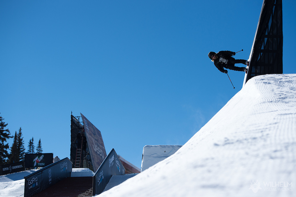 Jossi Wells during Ski Slopestyle Practice during 2015 X Games Aspen at Buttermilk Mountain in Aspen, CO. ©Brett Wilhelm/ESPN