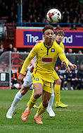 Bobby Reid during the Sky Bet League 2 match between Cheltenham Town and Plymouth Argyle at Whaddon Road, Cheltenham, England on 28 March 2015. Photo by Alan Franklin.